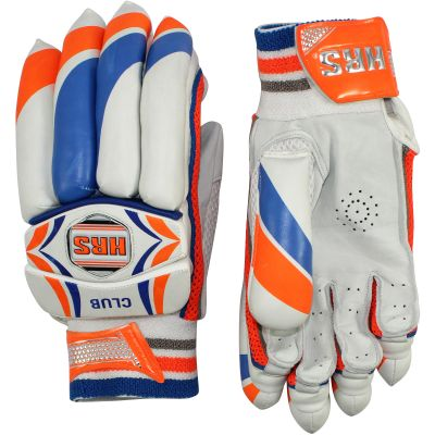 HRS Club Mens Batting Gloves - White & Orange